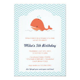 Whale Swim Summer Birthday Party Invitation 5