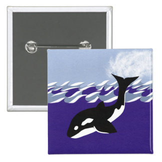 Whale Swimming in the Ocean Pinback Button