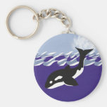 Whale Swimming in the Ocean Keychain