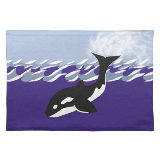 Whale Swimming in the Ocean Whimsical Cartoon Art Cloth Placemat