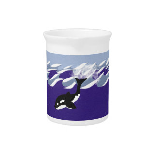 Whale Swimming in the Ocean Whimsical Cartoon Art Pitcher
