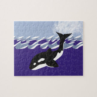 Whale Swimming in the Ocean Whimsical Cartoon Art Puzzle