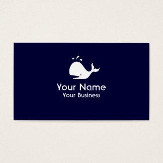 Whale symbol navy blue custom business cards