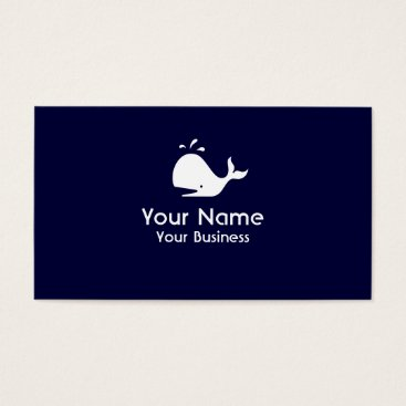 Professional Business Whale symbol navy blue custom business cards