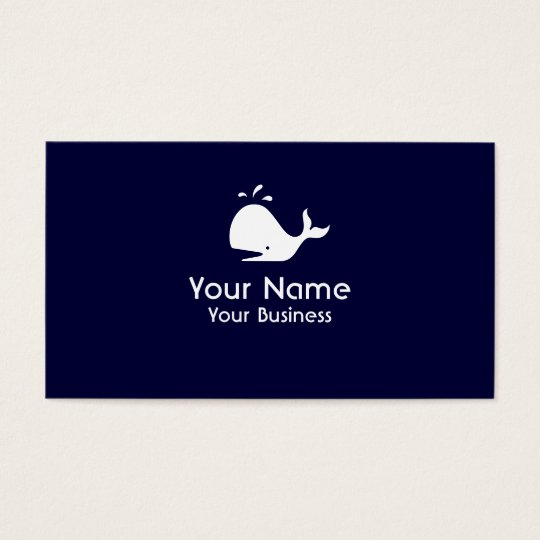 Whale symbol navy blue custom business cards