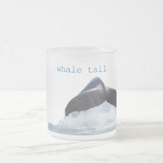 whale tail 10 oz frosted glass coffee mug