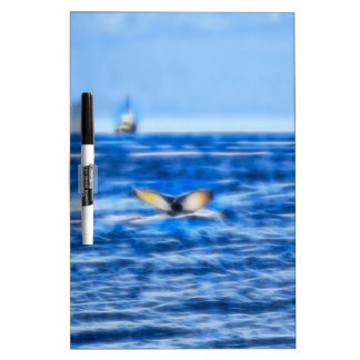 Whale Tail and Ship on the Horizon Fractal in Blue Dry-Erase Board
