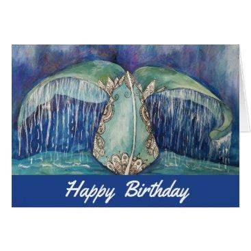 Beach Themed Whale tail birthday card