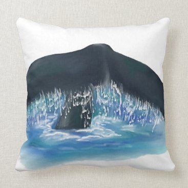Beach Themed Whale Tail Design with Blue Water Throw Pillow