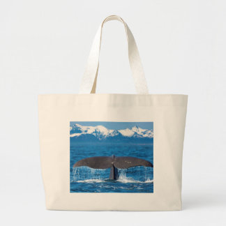Whale tail large tote bag