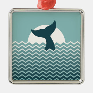 Whale Tail Metal Ornament