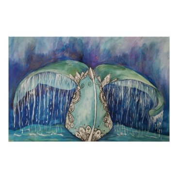 Beach Themed whale tail poster