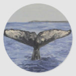Whale Tail Round Stickers