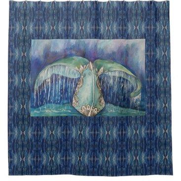 Beach Themed whale tail shower curtain