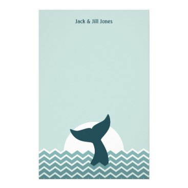 Beach Themed Whale Tail Stationery