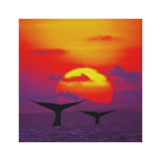 Whale tails at sunset canvas print