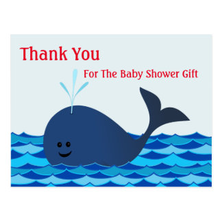 Whale, Thank You Baby Shower Postcard