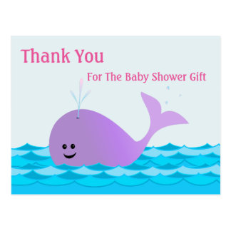Whale, Thank You Girl Baby Shower Postcard