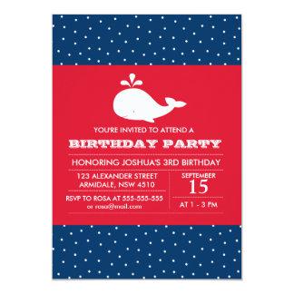 "Whale theme birthday boy party invitation 5"" x 7"" invitation card"