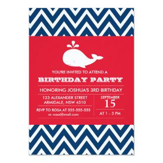 Whale theme birthday boy party invitation