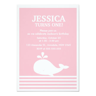 Whale theme birthday for girl party invitation