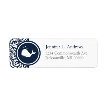 Beach Themed Whale Theme Navy Blue White Damask Beach Weddings Label