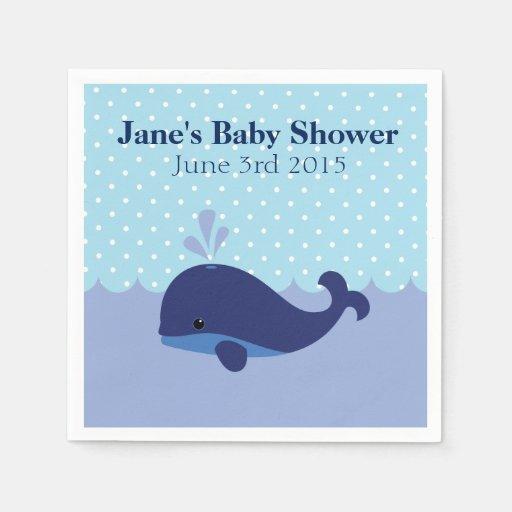 whale themed boy baby shower napkins zazzle
