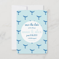 Whale themed save the date wedding invitation