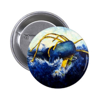 Whale vs Colossal Squid Original Fine Art Painting 2 Inch Round Button