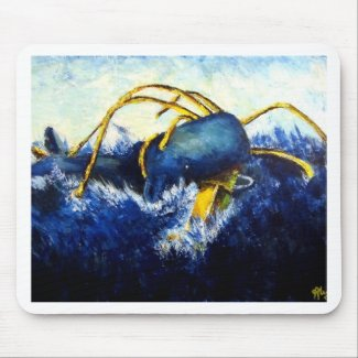 Whale vs Colossal Squid Original Fine Art Painting mousepad