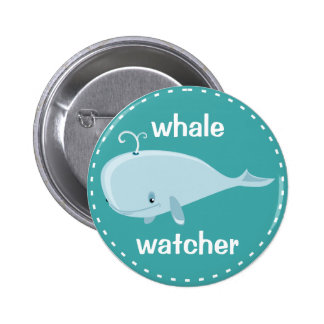 Whale Watcher Blue Green Cute Marine Mammal Animal Pin