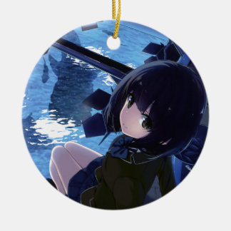Whale Watcher Ceramic Ornament