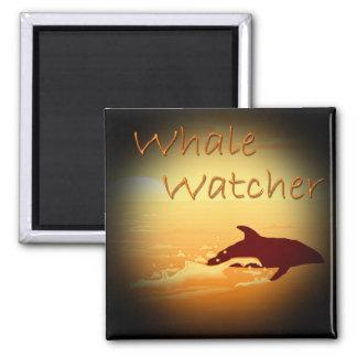 Whale Watcher  orange 2 Inch Square Magnet