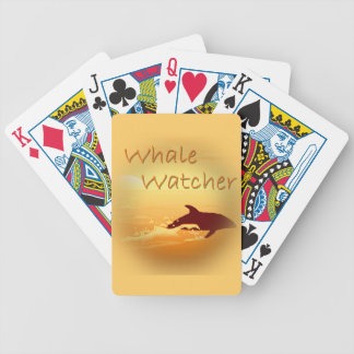 Whale Watcher  orange Bicycle Playing Cards