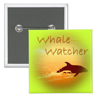 Whale Watcher orange Pinback Buttons