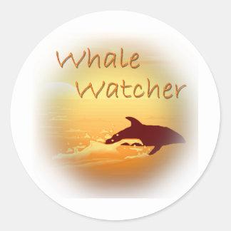 Whale Watcher  orange Classic Round Sticker