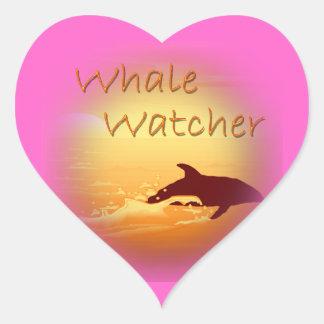 Whale Watcher  orange Heart Sticker