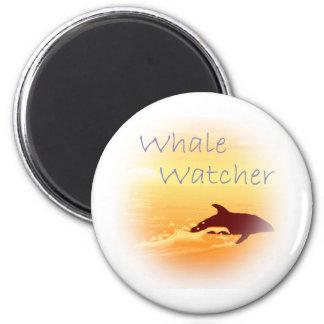 Whale Watcher  purple 2 Inch Round Magnet