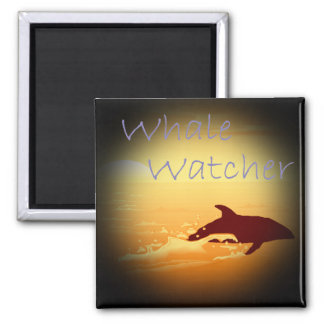 Whale Watcher  purple 2 Inch Square Magnet