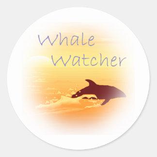 Whale Watcher  purple Classic Round Sticker
