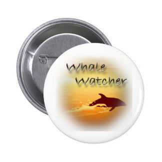 Whale Watcher red Pinback Button