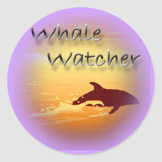 Whale Watcher  red Classic Round Sticker