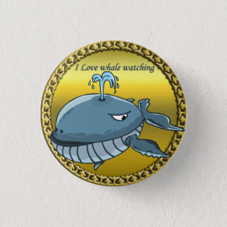whale watching for giant floating blue whales pinback button
