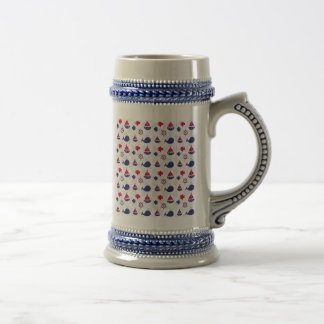 Whale Watching on Blue Beer Stein
