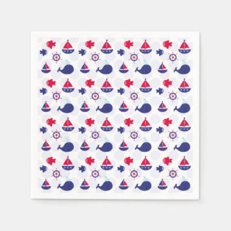 Whale Watching on Blue Disposable Napkins