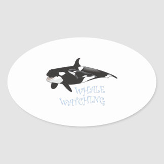 Whale Watching Oval Sticker