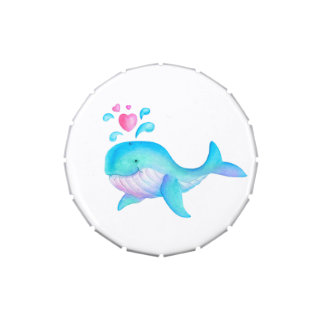 Whale watercolor kids art thanks you favor candy candy tins