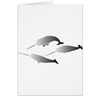 whale whales narwal narwhale unicorn scuba diving card