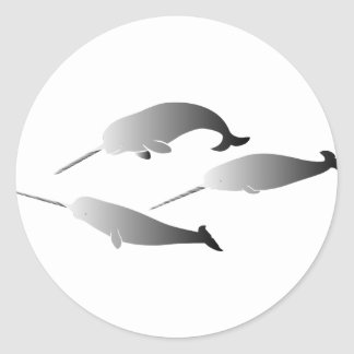 whale whales narwal narwhale unicorn scuba diving classic round sticker
