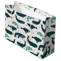 Whale/Whales Ocean Nautical Green / Andrea Lauren Large Gift Bag
